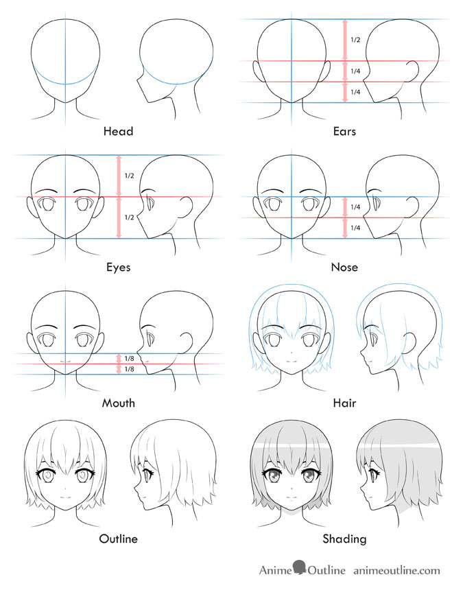 40+ Best Collections Anime Girl Face Drawing Step By Step