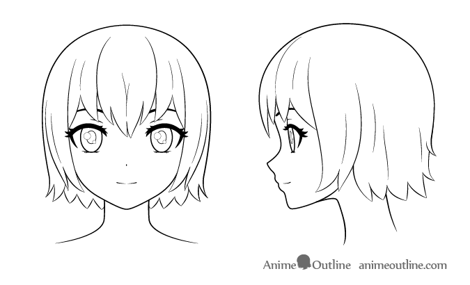 Anime girl head an hair outline example of how to draw
