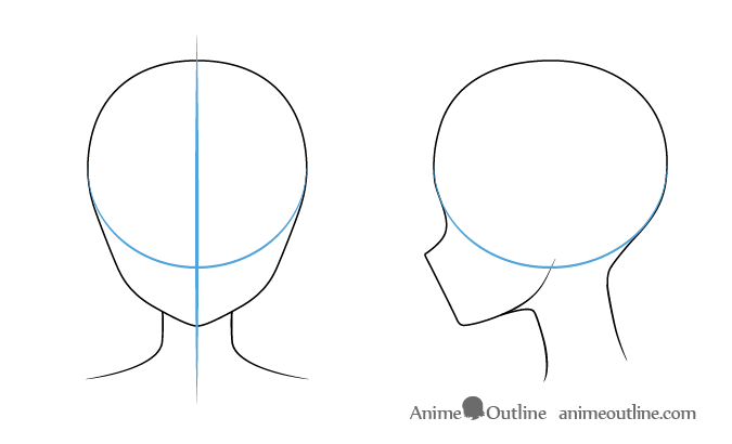 Step 1 drawing the head anime girl head outline