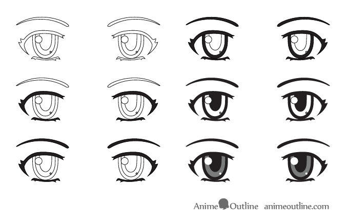 Shading anime eyes step by step
