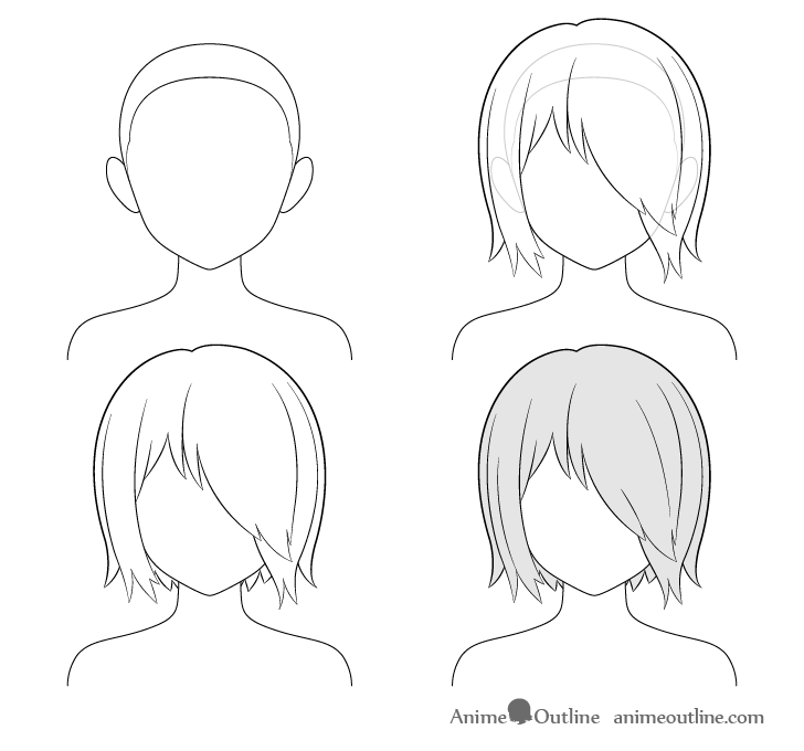 Anime hair over one eye step by step drawing
