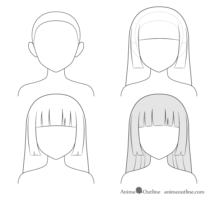 Anime hime cut hair step by step drawing
