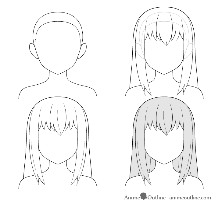 Anime long hair step by step drawing