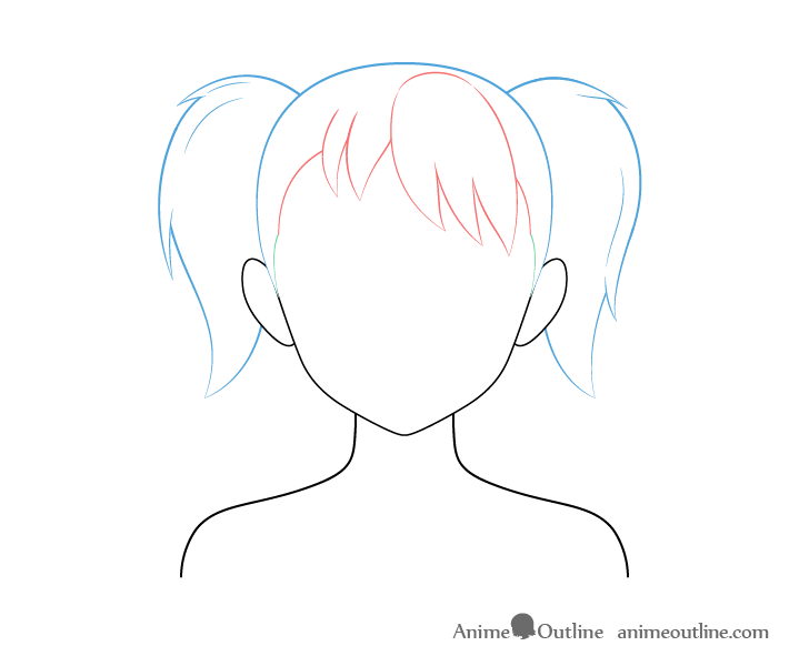 Anime pigtails hair drawing breakdown
