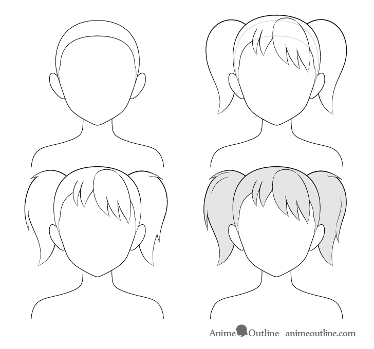 Anime pigtails hair step by step drawing
