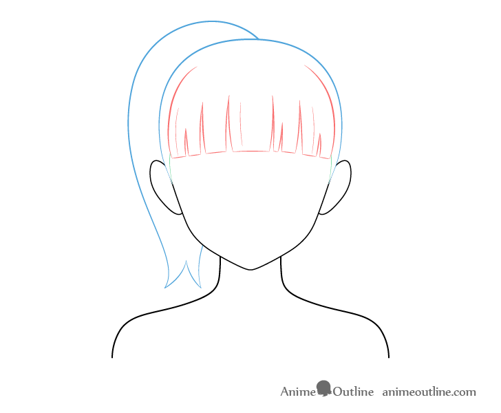 Anime pony tail hair drawing breakdown