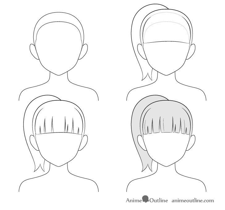 Anime ponytail hair step by step drawing