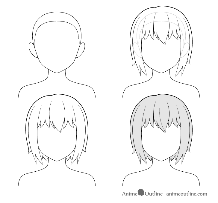 Anime short hair step by step drawing