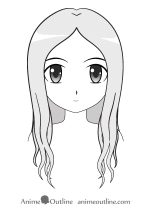 Examples of how to draw anime hair long anime hair female