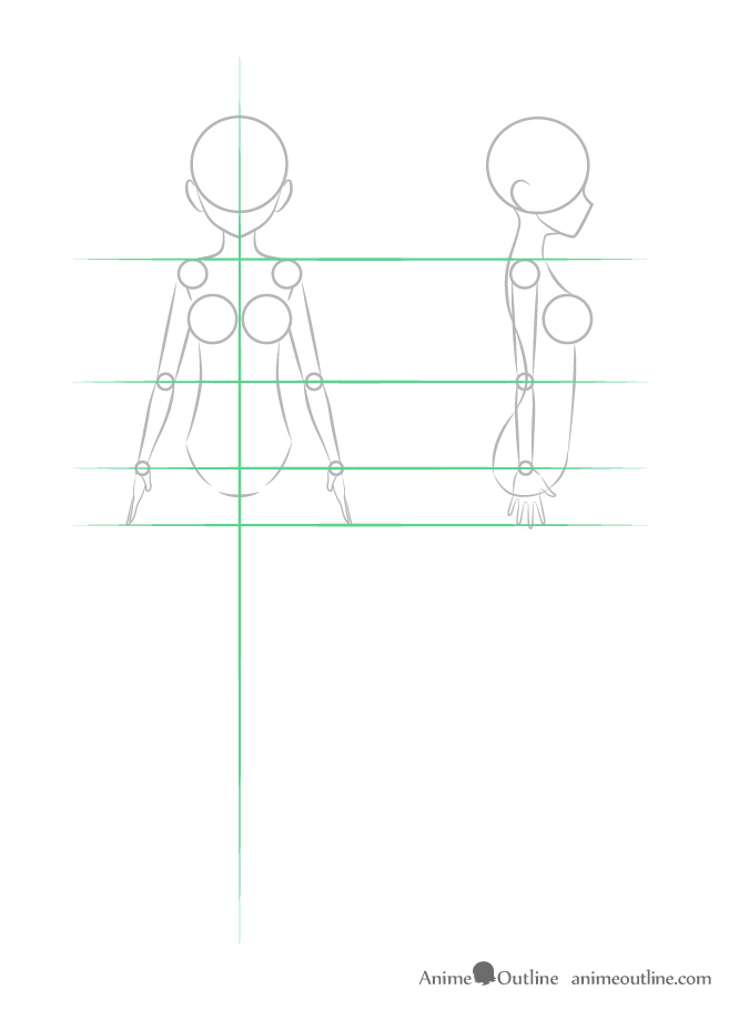 Anime girl arm structure front and side view