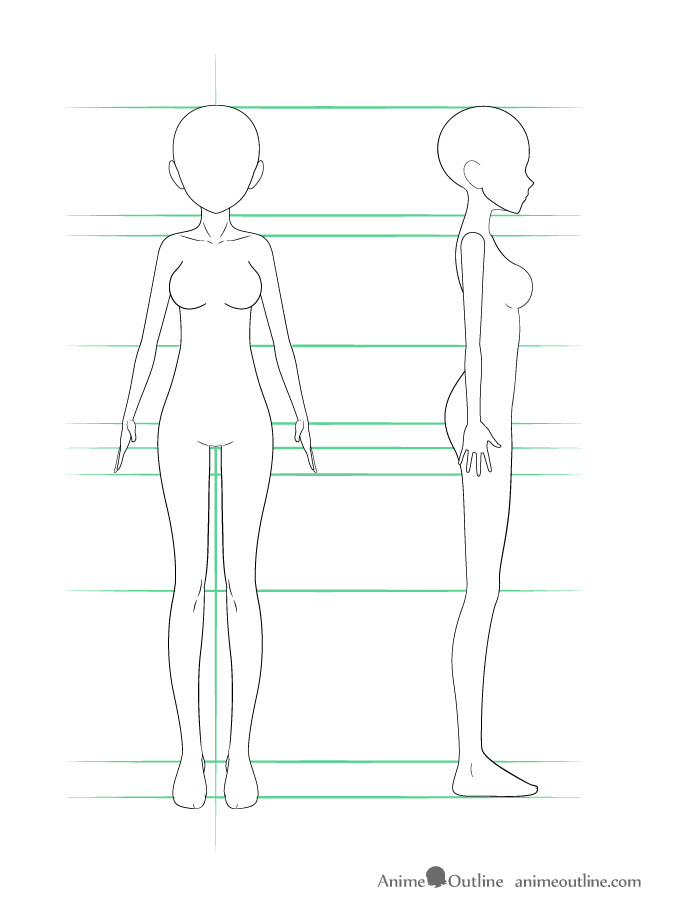 Anime girl body outline drawing anime girl body