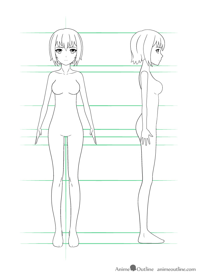 Example of how to draw anime girl with details