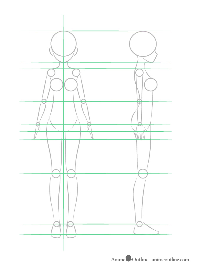 Anime girl entire body structure front and side view