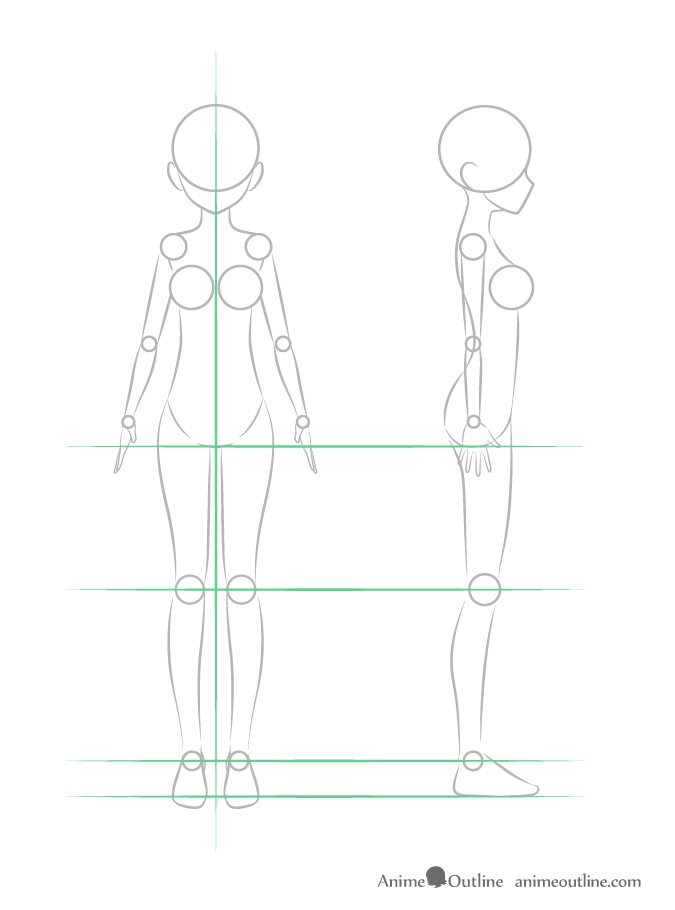Anime girl leg structure front and side view