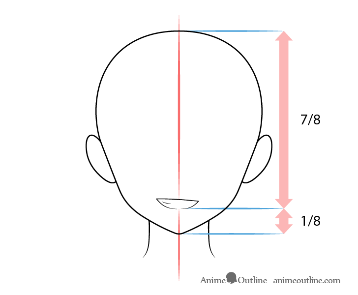 Anime mouth grinning expression on head drawing