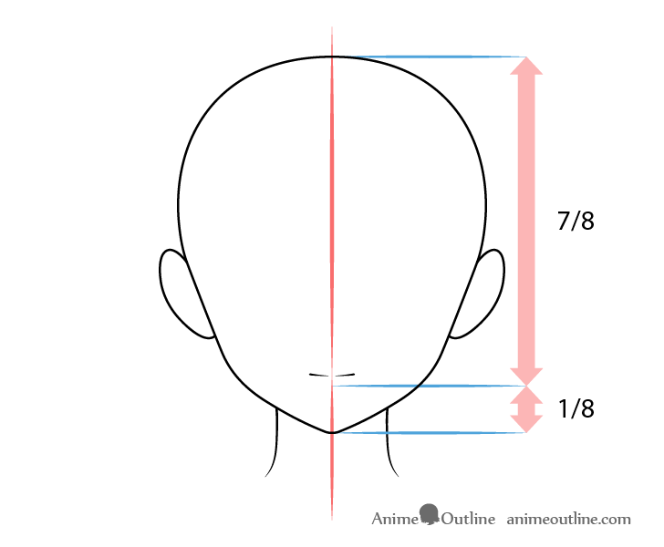 Anime mouth normal expression on head drawing