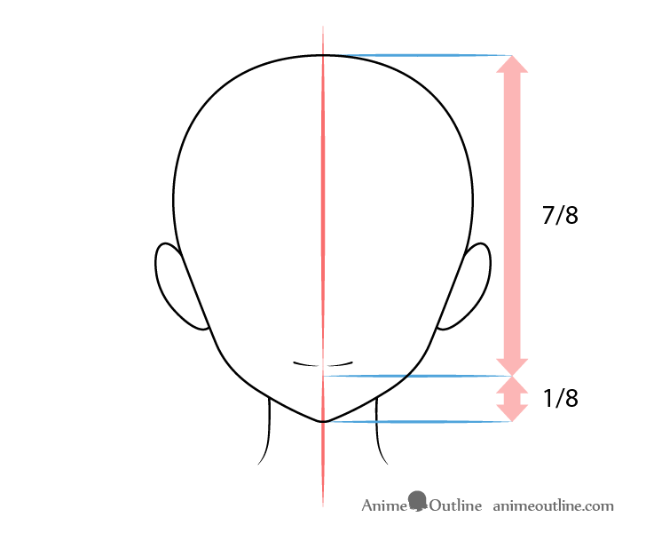 Anime mouth smiling expression on head drawing