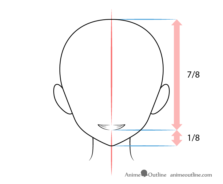 Anime mouth smiling expression teeth showing on head drawing
