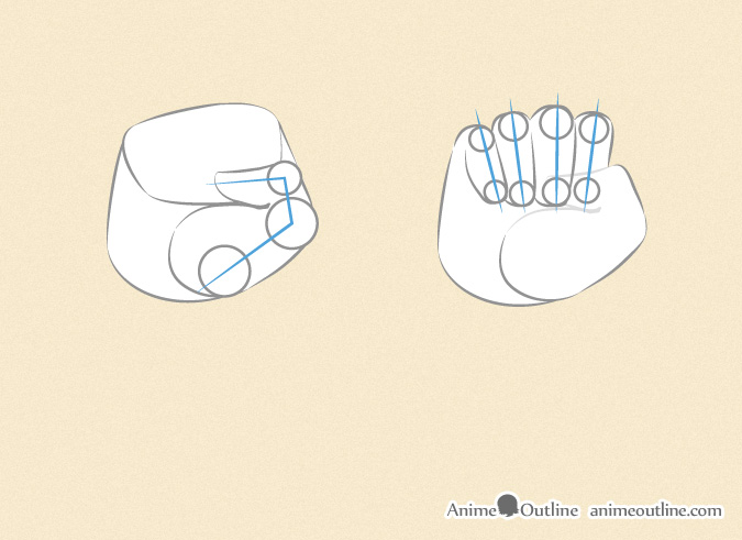 Drawing an anime fist thumb and fingers
