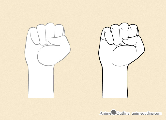 Anime Characters Using Fist : How to draw anime hands step by outline