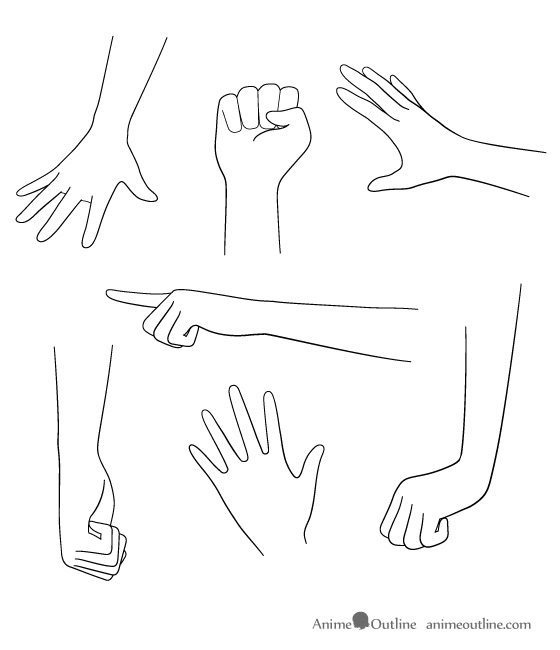 Anime hand drawings