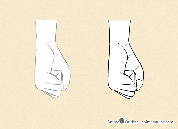 Drawing anime hands closed palm side view details