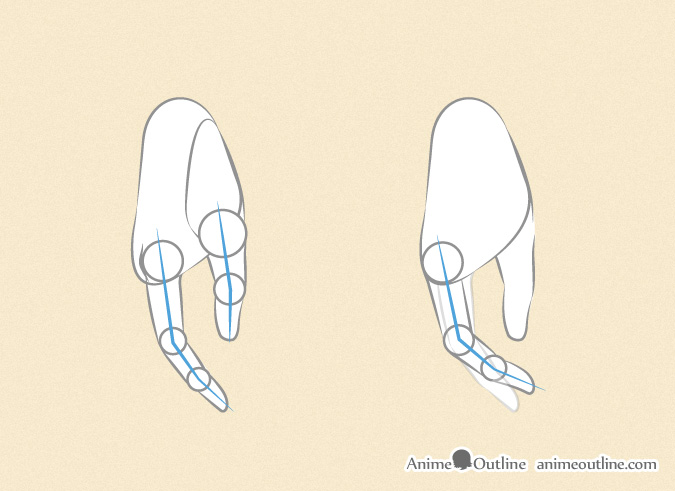 Drawing anime hands side thumb index and middle finger
