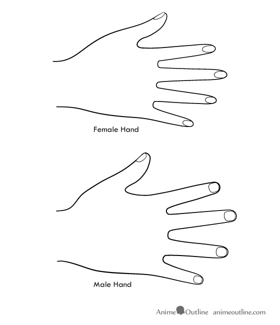 Drawing anime male and female hands