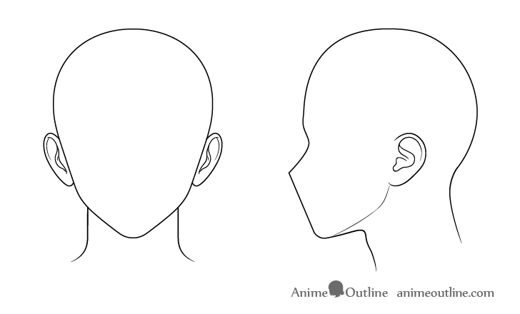 Anime male ears inner details drawing