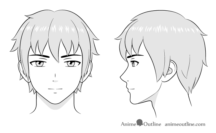 Anime Male Face And Head Drawing