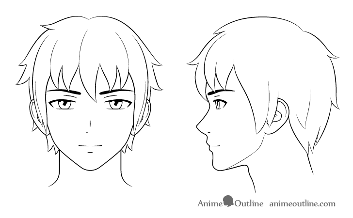 Outline drawing of anime male characters head and face