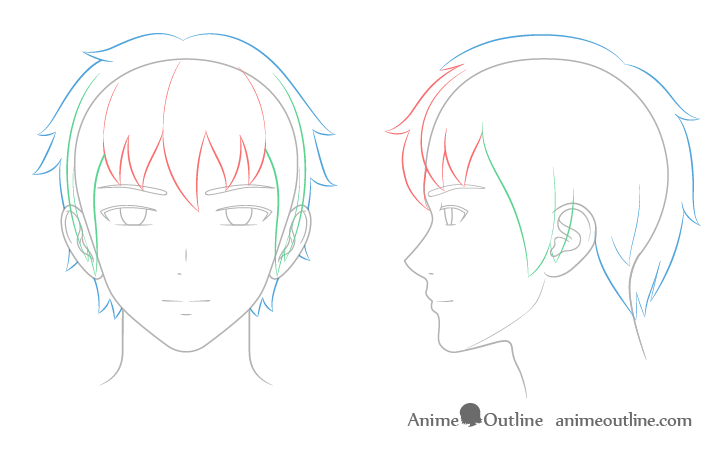 Anime male hair drawing breakdown