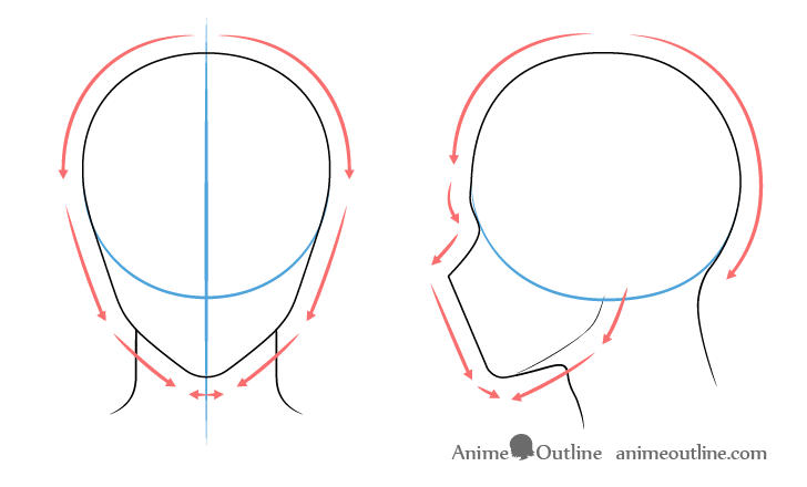 Anime male head drawing