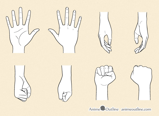 Anime hands in different positions drawing anime hands