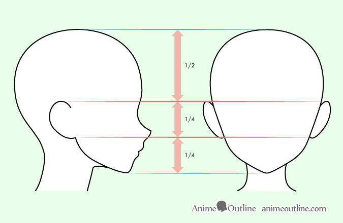 Drawing anime ears on head guide