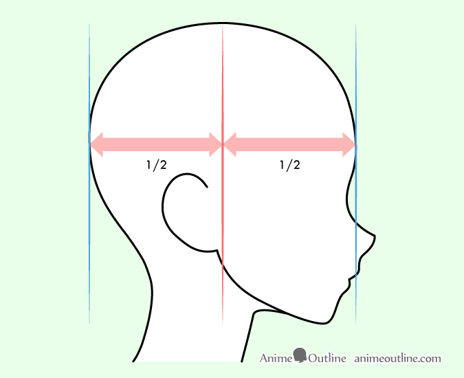 Drawing anime ears on head side view guide