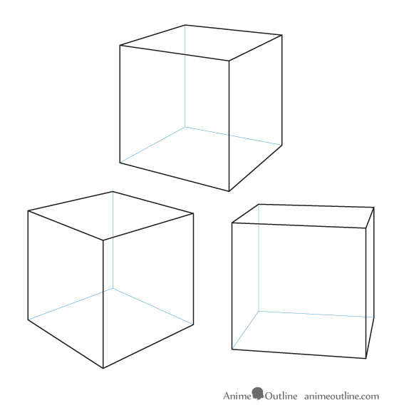 Cubes drawn in perspective