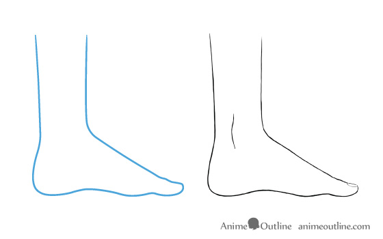 Anime feet drawing big toe side view