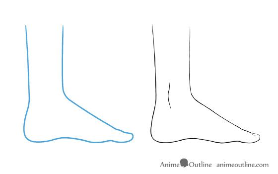 Anime feet drawing big toe side view