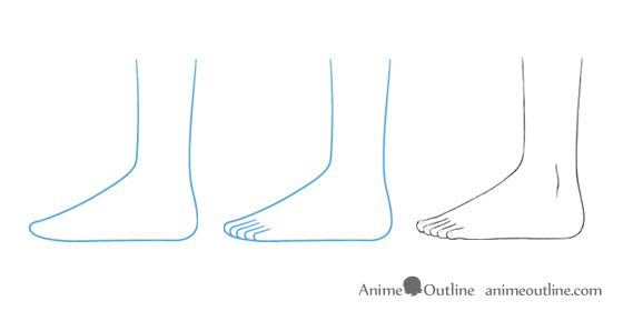 Anime feed drawing in side view