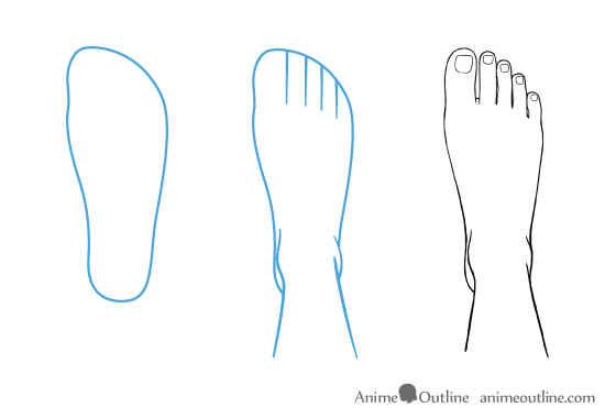 Anime feet drawing in top view