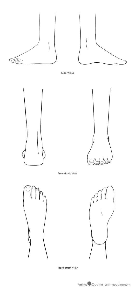 Anime feet drawings in different views