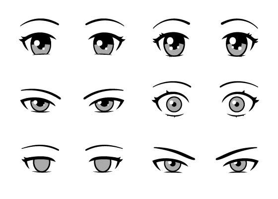 Villain and innocent anime eyes
