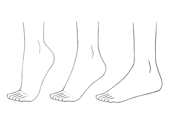 Ainime foot different positions
