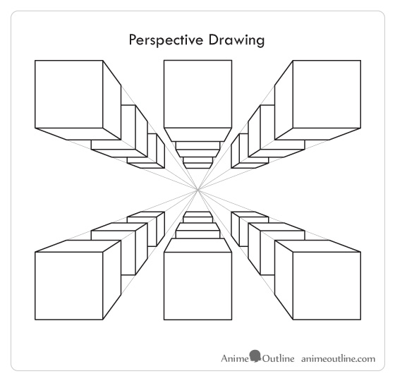 Lines of cubes in perspective