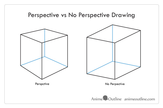 Cube in perspective vs no perspective drawing example
