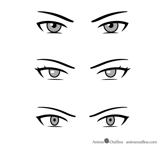 Squinting eyes villain anime manga characters