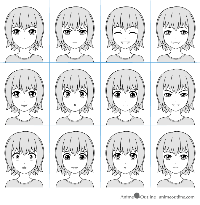 Anime facial expressions chart with 12 expressions