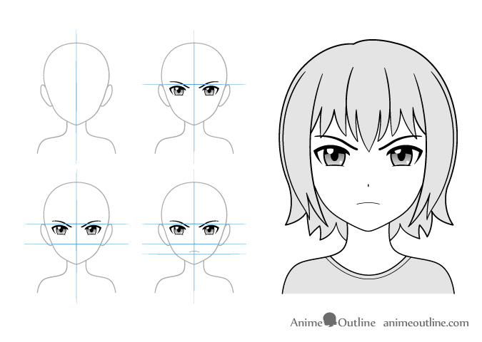 Angry anime girl drawing example