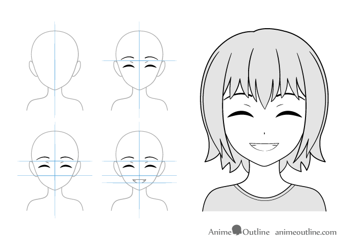 Content smile anime girl drawing example